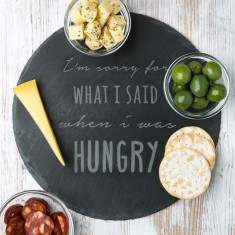 Engraved When I Was Hungry Slate Chopping Board