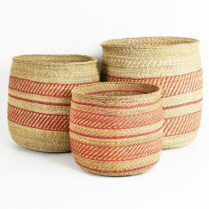 African Grass Basket Collection - Terracotta & Natural