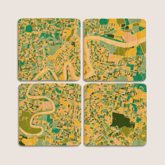 Aerial map of Brisbane, QLD bamboo coasters (set of 4)