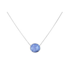 Pebble central stone necklace with tanzanite in silver