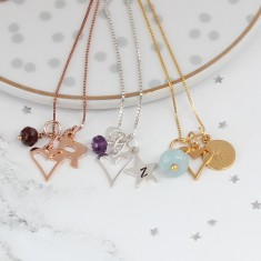 Personalised Mini Open Heart and Birthstone Charm Necklace