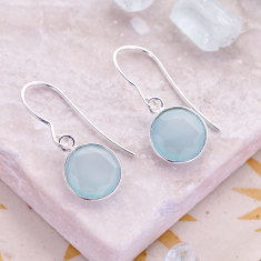 Tablet drop earrings with aqua chalcedony in silver