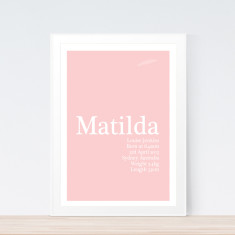 Classic pastel birth print (various colours)