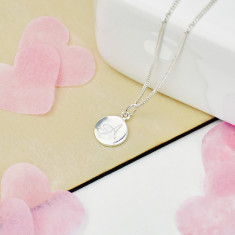 Monogram Personalised Silver Mini Disc Necklace