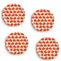Kissing Rabbits Melamine Plates (Set of 4)