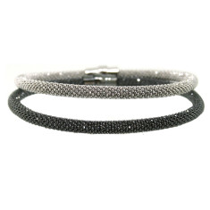 Duo sterling silver laser snake bracelet set in black and silver