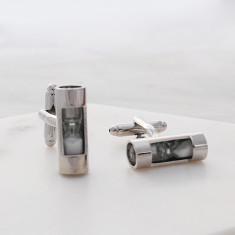 Sand timer stainless steel cufflinks