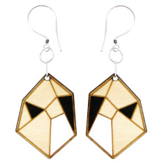 Black and white marquise earrings
