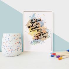 Einstein Teacher Quote Thank You Gift Framed Mini Print