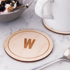 Personalised Initial Wooden Drinks Coaster