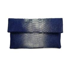 Midnight sparkle python leather classic foldover clutch