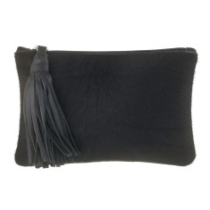 Chloe Clutch In Black Calf-hair/leather