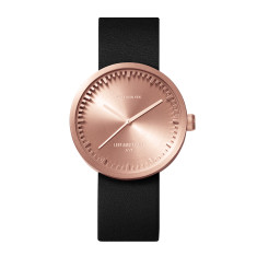 Leff Amsterdam tube watch D38 with black leather strap rose gold finish