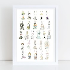Rabbit Fashion Runway Alphabet Fine Art Print