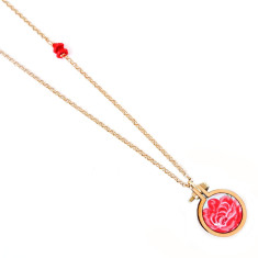 Long petite embroidery hoop necklace in rose