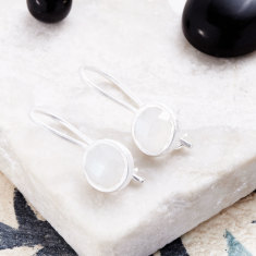 Cupcake Smaller Drop Earrings In Silver With Moonstone