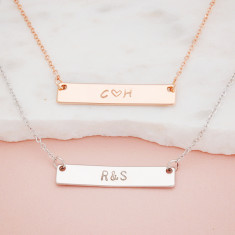 Personalised Mother's Day hand stamped initial and ampersand or heart bar necklace