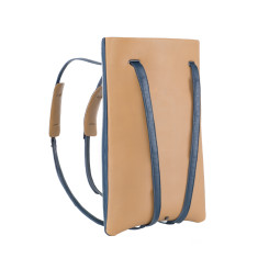 Laptop backpack in leather