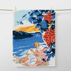 Greetings from Lake Wine Tea Towel by Blue Q