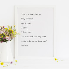 I love, I love, I love you. Jane Austen print