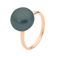 Black button pearl 9ct rose gold ring