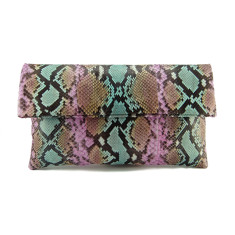 Tropical tutti frutti python leather classic foldover clutch