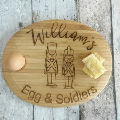 Personalised Egg and Soldiers Wood egg/breakfast board