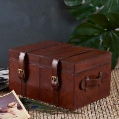 Leather keepsake trunk