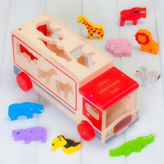 Personalised Wooden Red Safari Shape Sorter Lorry Toy