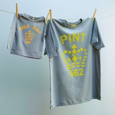 Matching pint and half pint t-shirt set for dad and child (citrus & grey)