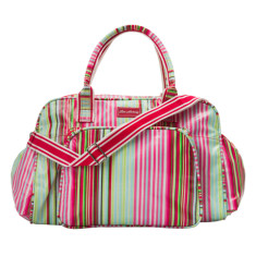 Laminated cotton nappy bag in Selma Stripe print