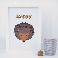 Childrens Hedgehog on white print