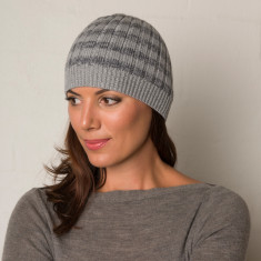 Stripey wool beanie grey + navy