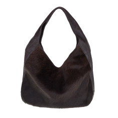 Linda Chocolate Brown Cowhide + Leather Hobo Bag