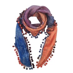 Sophie silk scarf with pompom trim