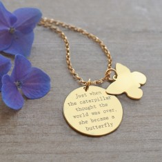 Personalised Gold Disc and Butterfly Quote Necklace