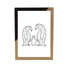 Geometric Penguin Family framed print