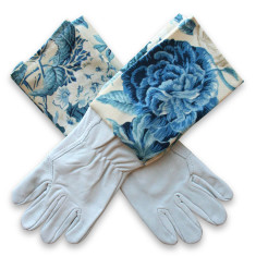 Washable leather gardening gloves in blue blooms