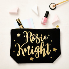 Personalised Stars Black and Gold Makeup Bag