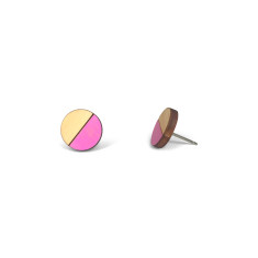 Circle half moon earrings in neon purple