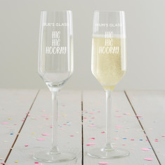 Personalised Hic Hic Hooray Champagne Flute