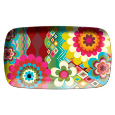 French Bull rectangular platter in mosaic pattern