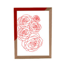 Geometric rose framed print