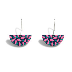 Tropics drop earrings in navy, aqua and neon pink