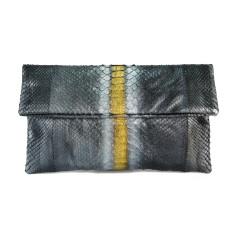 Metallic multicolour python leather classic foldover clutch