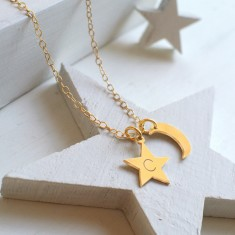 Personalised Gold Little Moon and Initial Star Necklace