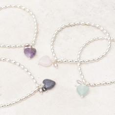 Maya Stone Heart Personalised Silver Bracelet