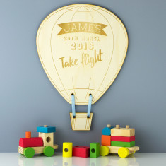 Take Flight Personalised Hot Air Balloon Wooden Sign