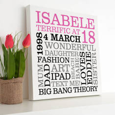Personalised 18th Birthday Typographic Art