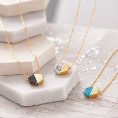 Hexagonal Marble Stone Necklace